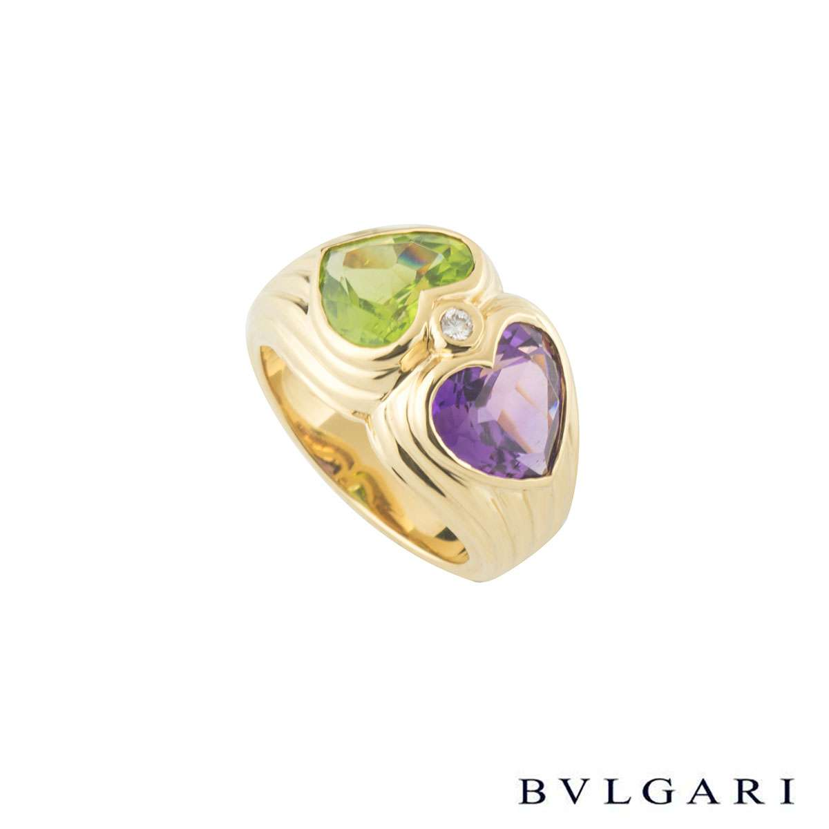 Bvlgari Doppio Peridot and Amethyst Ring